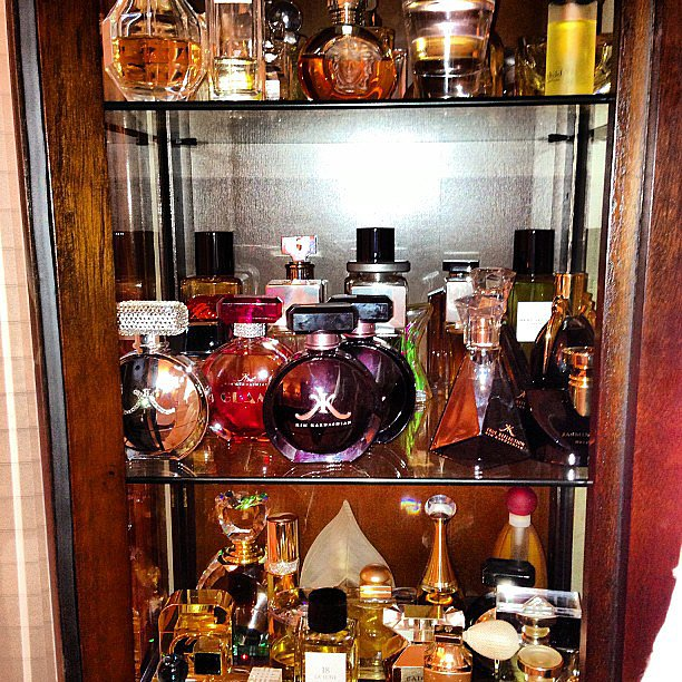 Believe it or not, this isn't a display counter in a department store — it's Kim Kardashian's perfume collection. Source: Instagram user kimkardashian