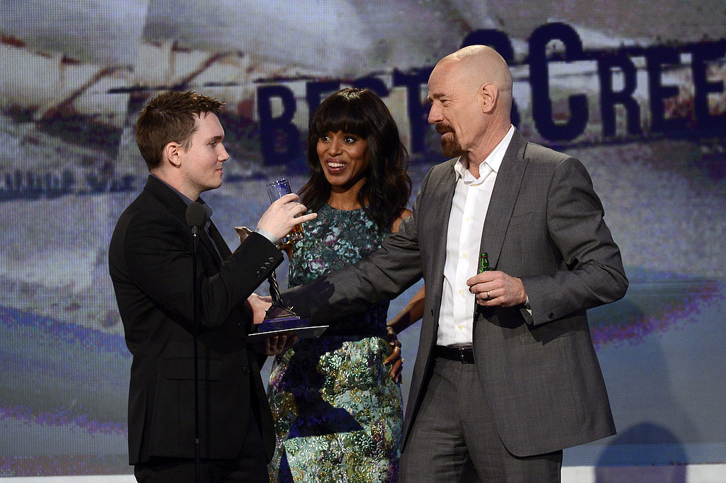 Kerry Washington, Derek Connolly, and Bryan Cranston shared a moment on stage.