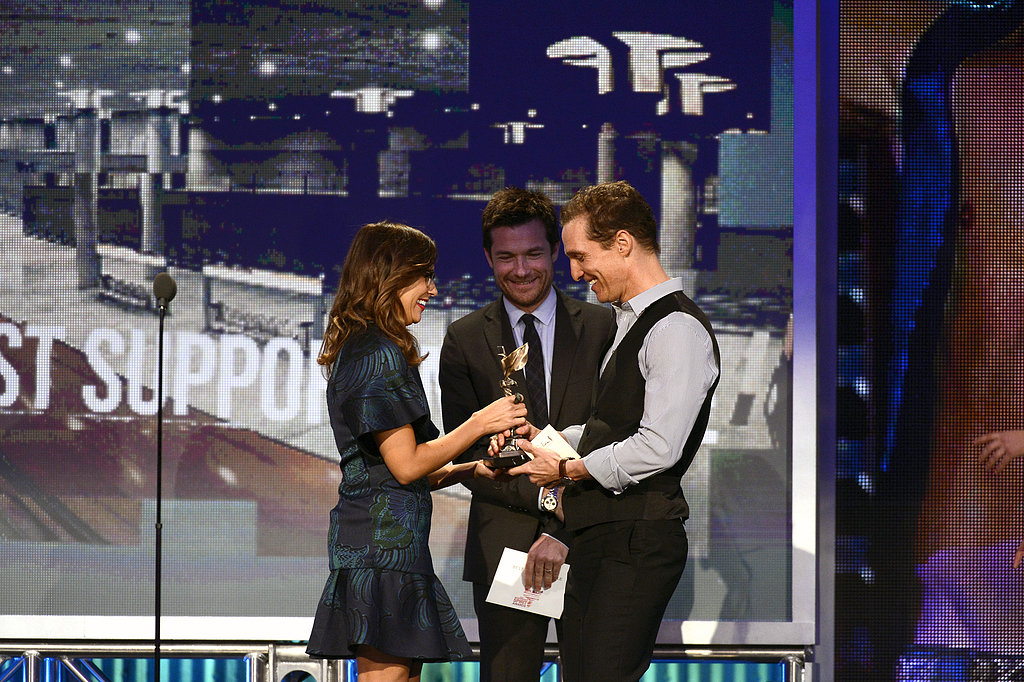 Jason Bateman and Rashida Jones present the Spirit Award to Matthew McConaughey for his role in Magic Mike.