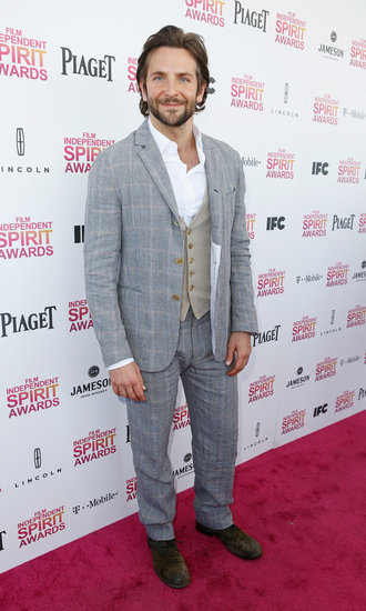 Bradley Cooper on the red carpet at the Spirit Awards 2013.