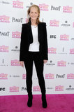 """Helen Hunt chose a black pantsuit look, only opting for """"color"""" via a white top."""