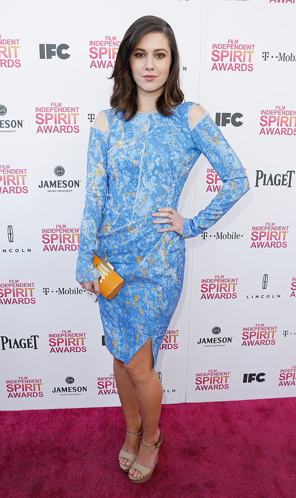 Mary Elizabeth Winstead showed off her penchant for feminine wares in a powder-blue lace Emilio Pucci dress, which she accented with a saffron-hued clutch and nude sandals.