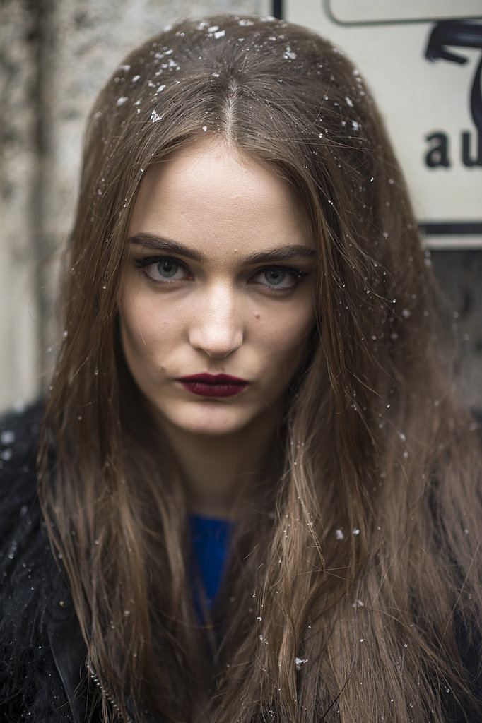 Zuzanna Bijoch rocked this oxblood lip and flicked-out liner look. Source: Le 21ème | Adam Katz Sinding