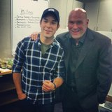 21 and Over star Skylar Astin was starstruck when he met UFC fighter Dana White in his dressing room.  Source: Instagram user skylarastin