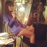 Glee's Lea Michele was surrounded by lights on set in pajamas.   Source: Instagram user msleamichele