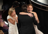 Bradley Cooper congratulated Jennifer Lawrence for her Oscar win on Sunday night.