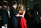 Jennifer Aniston gave Channing Tatum a hug backstage at the Oscars.