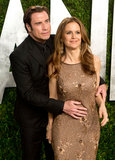 John Travolta embraced wife Kelly Preston on the red carpet.