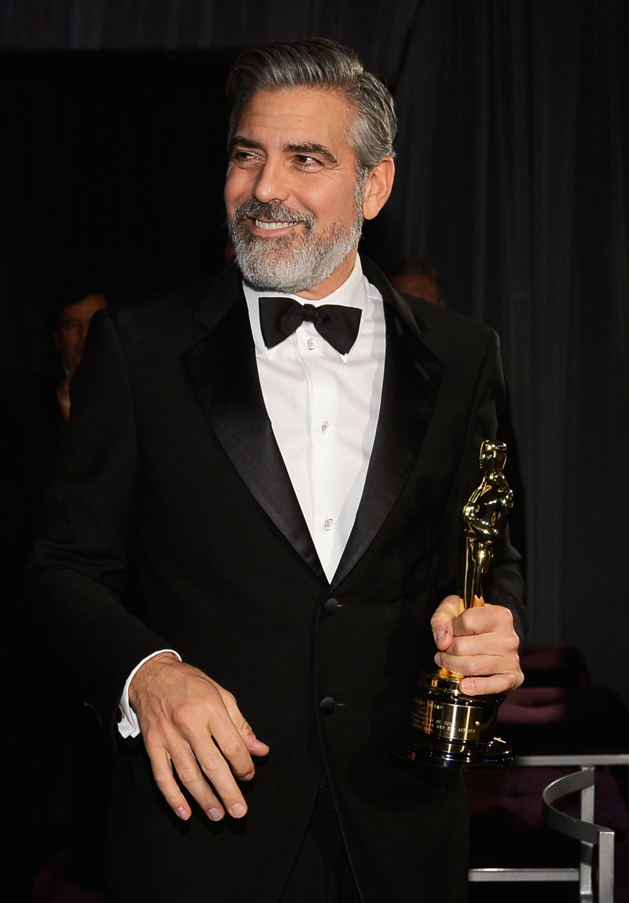 George Clooney had a smile on his face at the Governors Ball.