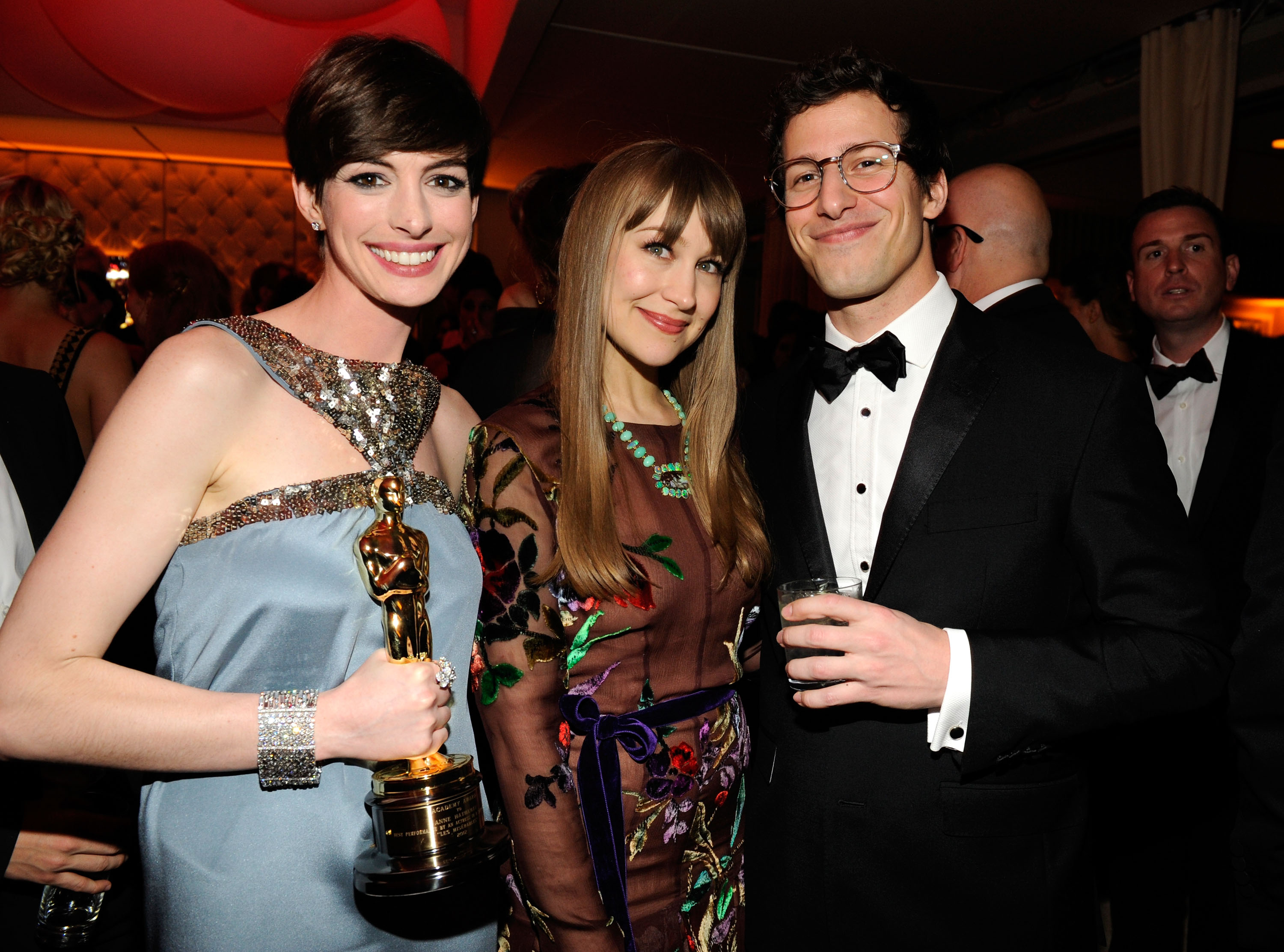 Andy Samberg met up with Anne Hathaway and Joanna Newsom at Vanity Fair's Oscar afterparty.
