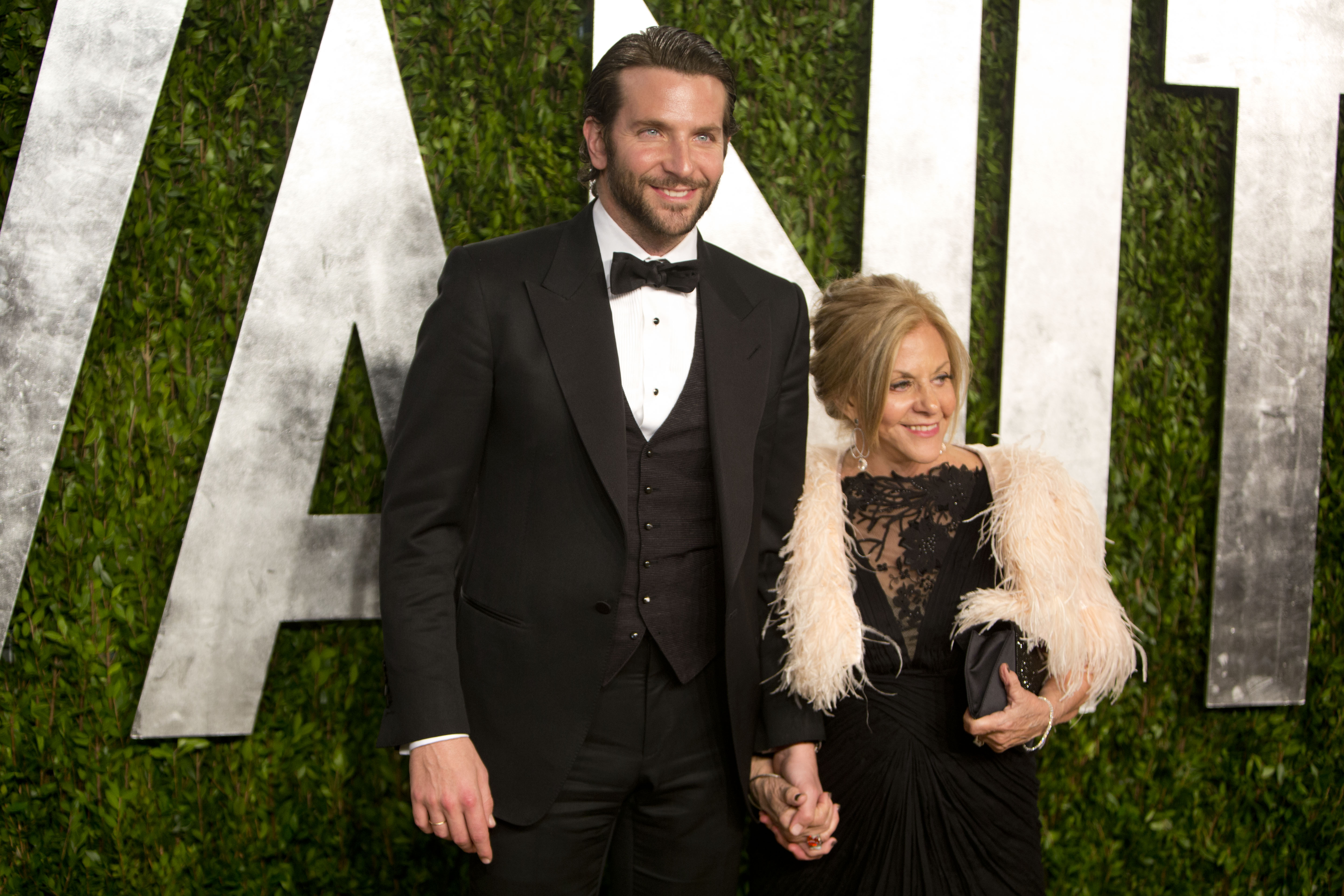 Bradley Cooper arrived at the Vanity Fair Oscar party.