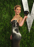 Jennifer Lawrence brought her Oscar to the Vanity Fair Oscar party on Sunday night.