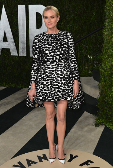 At the Vanity Fair Oscars afterparty, Diane Kruger went with a black-and-white printed Giambattista Valli dress and white Christian Louboutin pumps with black piping and PVC detail.