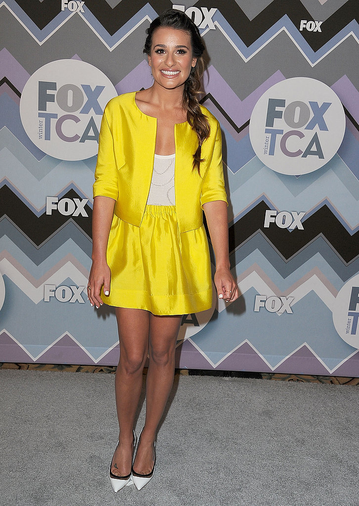 At the 2013 TCA Winter Press Tour in Pasadena, CA, Lea Michele wore the same white Christian Louboutin pumps as Diane Kruger, only she completed her look via a bright yellow skirt suit.