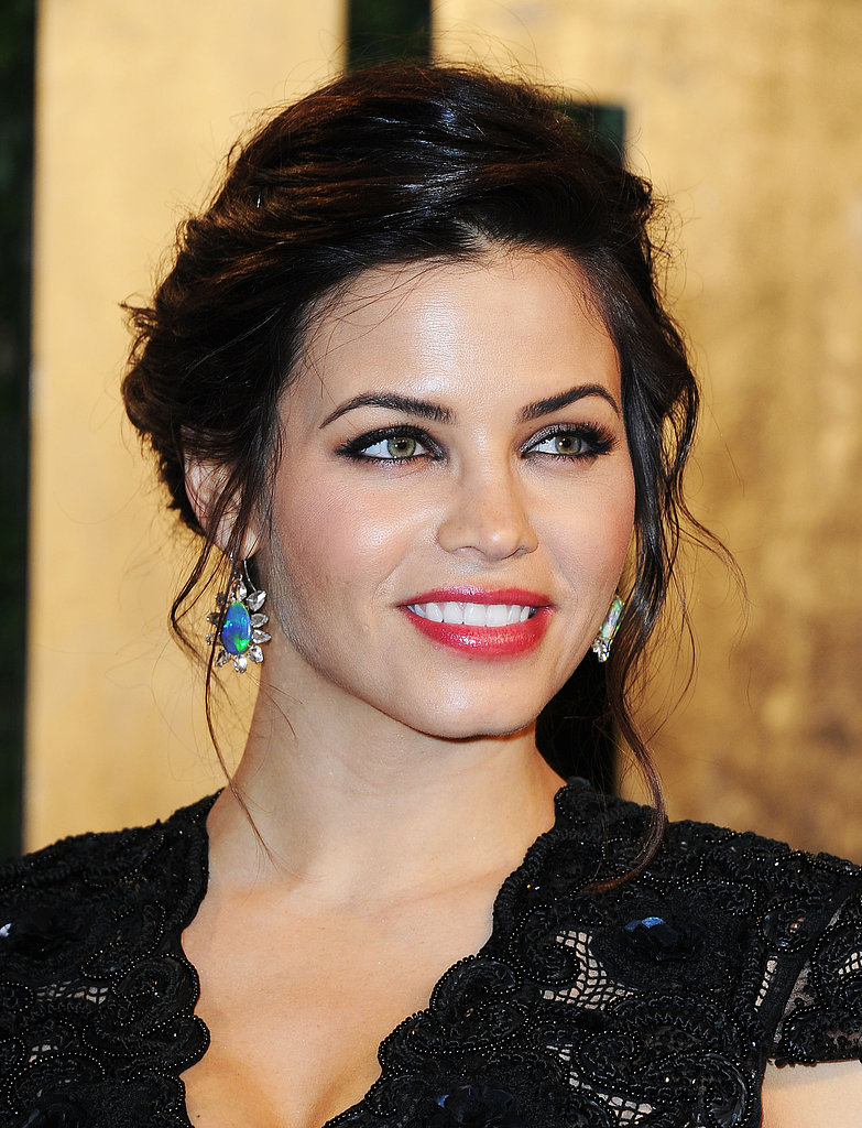 Mom-to-be Jenna Dewan-Tatum brightened her lace Rachel Roy gown with iridescent Irene Neuwirth opal and diamond earrings.