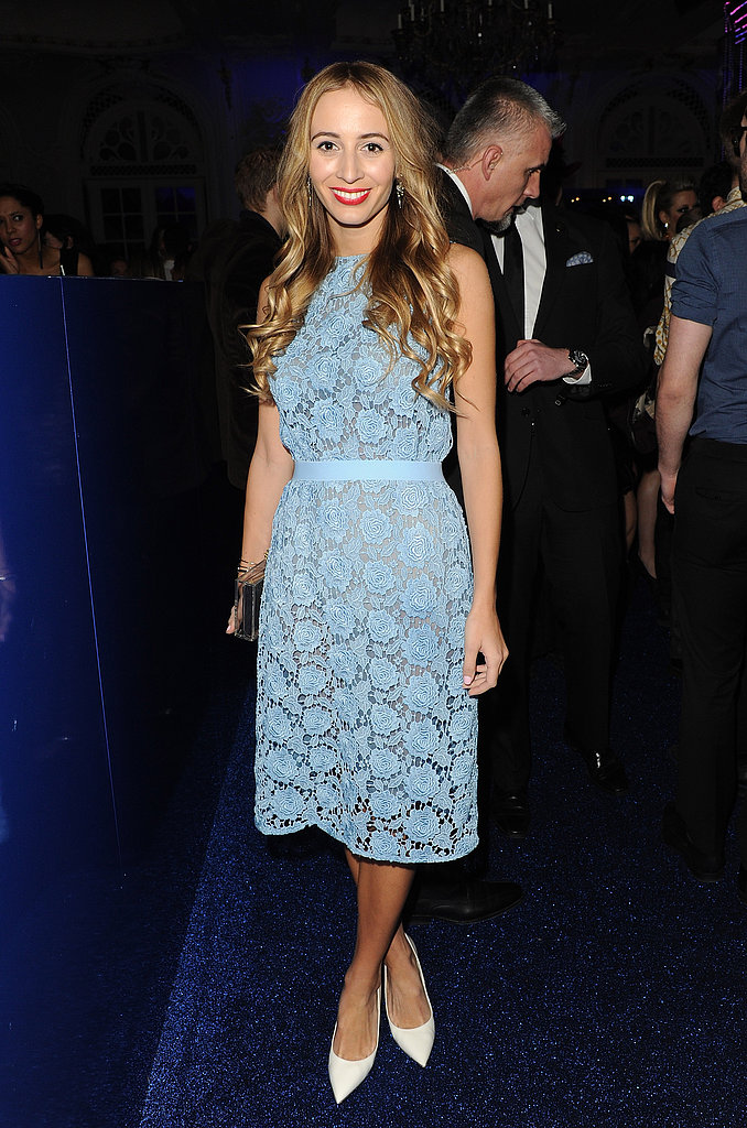 Harley Viera-Newton looked demure but cool in a blue lace dress with crisp white pumps at a party in London.
