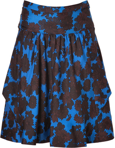 Marc by Marc Jacobs Neptune Blue-Multi Onyx Floral Silk Skirt