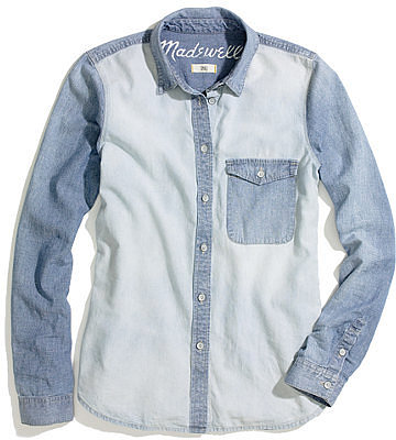 Two-tone chambray shirt