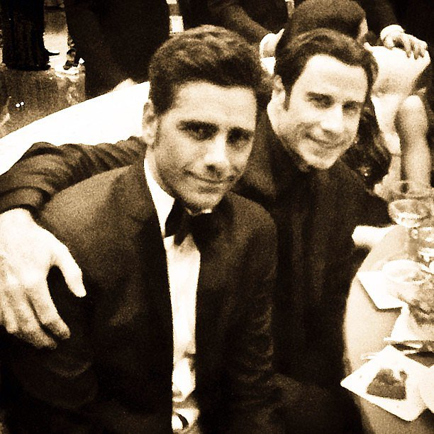 "With what might be the best caption of the night, John Stamos posted this picture next to John Travolta: ""That's cool baby, you know how it is, rockin' , and rollin', and what not."" Source: Instagram user johnstamos"