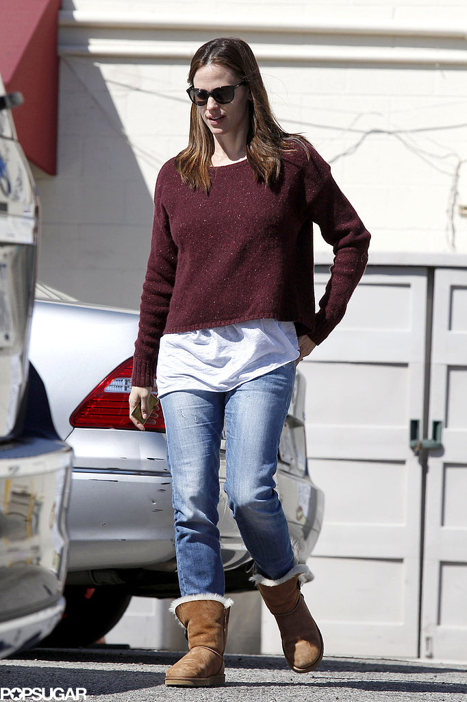Jennifer Garner donned a maroon sweater and jeans in Brentwood.