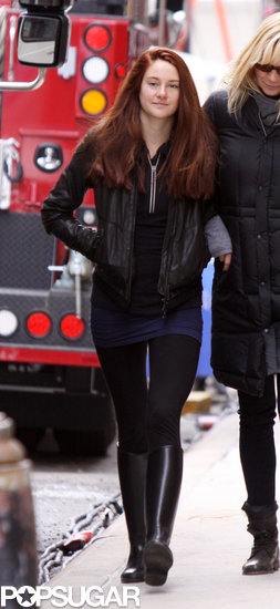 Shailene Woodley showed off her red hair on set.