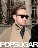 Justin Timberlake wore sunglasses in Paris.