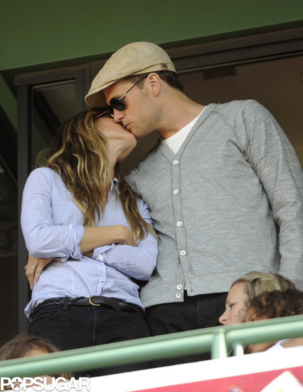 Tom Brady and Gisele Bündchen kissed during the Fenway Park 100th anniversary celebration in Boston in April 2012.