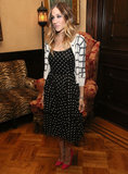 Sarah Jessica Parker wore a polka-dot dress with a black and white cardigan.