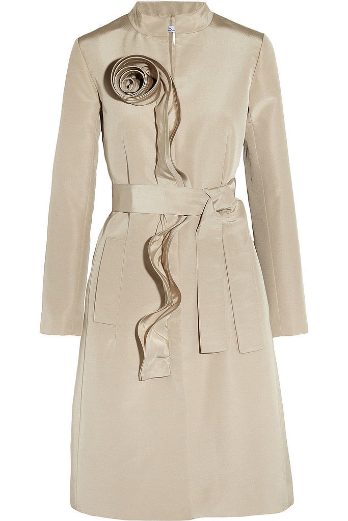 Oscar de la Renta for The Outnet ruffle-trim sateen coat