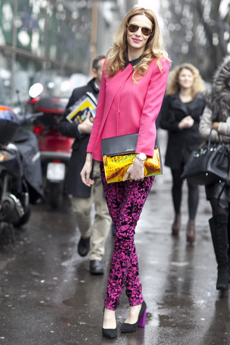Hot pink and a hologram clutch — this attendee didn't shy from the spotlight.