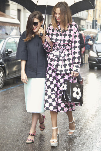This show-going duo wowed in fresh coats and pretty footwear.