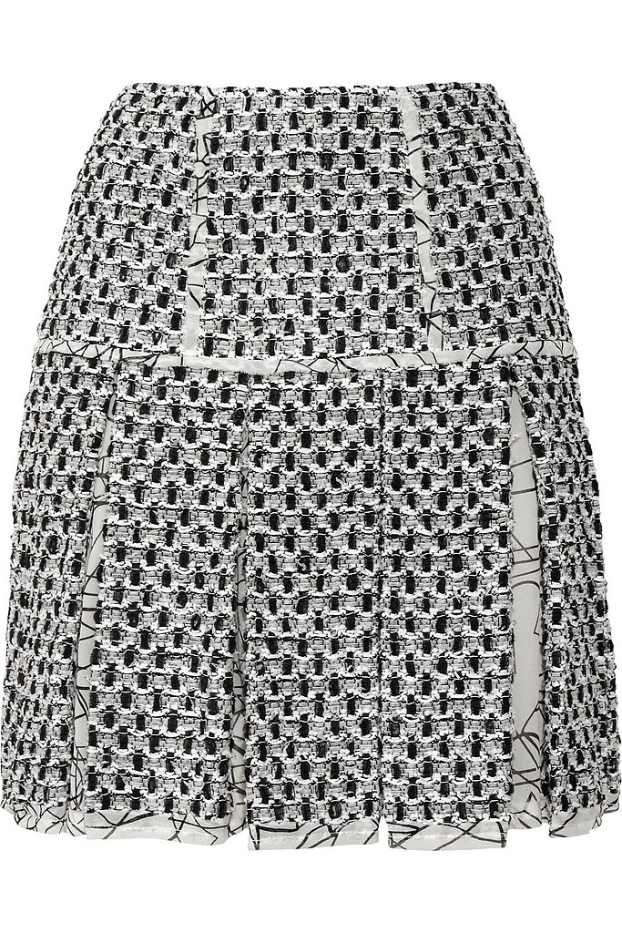 Oscar de la Renta for The Outnet pleated tweed miniskirt