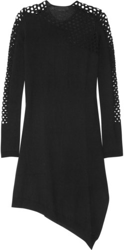 Alexander Wang Fishnet-paneled asymmetric merino wool dress