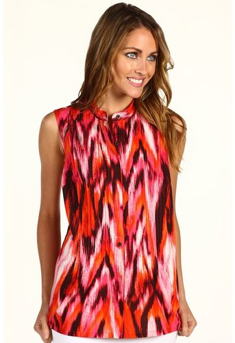 Jones New York  Sleeveless Printed Ikat Pleated Tunic