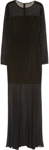 DKNY Stretch-silk chiffon and crepe gown