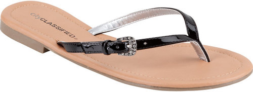 CITY CLASSIFIED Patent Thong Womens Sandals