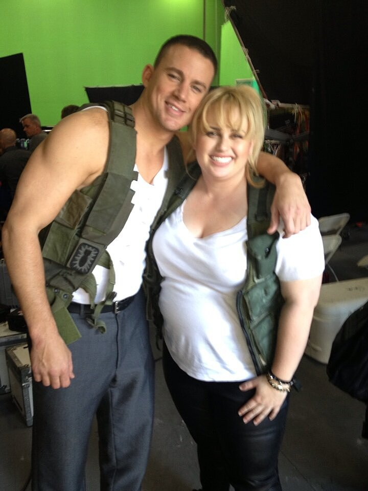 Rebel Wilson and Channing Tatum got together to film a skit for MTV's upcoming 2013 Movie Awards.  Source: Twitter user RebelWilson