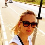 Bar Refaeli snapped a photo while on a bike ride. Source: Instagram user barrefaeli