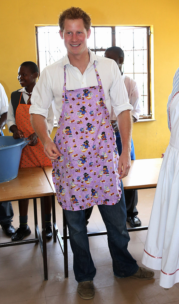 Prince Harry donned an apron to do work in the kitchen.