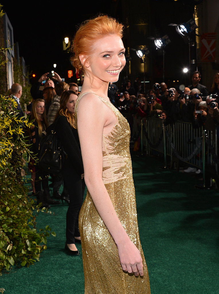 Eleanor Tomlinson shimmered in a gold gown.