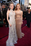 Amanda Seyfried and Jessica Chastain linked up on the red carpet at the Oscars.