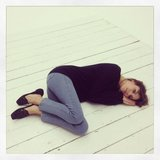Alexa Chung took a nap after a tiring L'Oréal photo shoot. Source: Twitter user alexa_chung