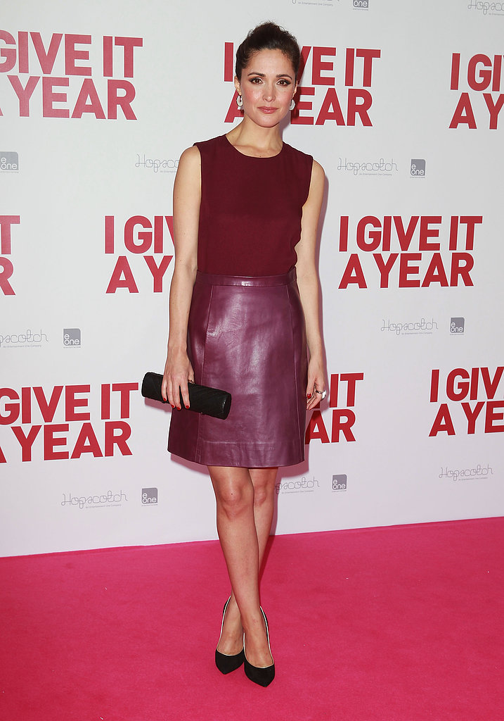 Rose Byrne wore her berry-hued Jill Stuart dress with Casadei's black Blade heels ($781) at the I Give It a Year premiere in Sydney.