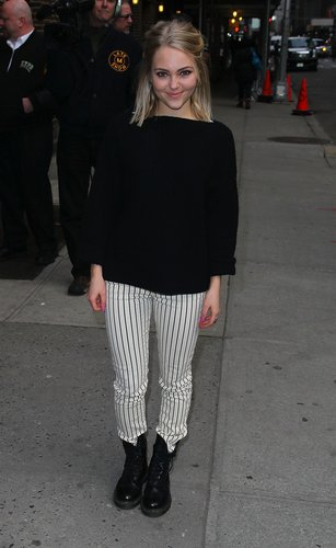 AnnaSophia Robb broke up her black NYC look with these Paige Premium Denim striped jeans ($199).