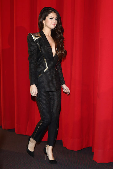 At the Spring Breakers premiere in Berlin, Selena Gomez finished her sexy Versace pin-striped suit with Casadei's black Blade pumps ($781).