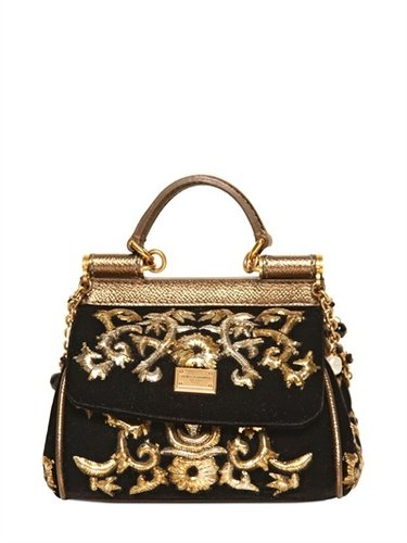 Dolce & Gabbana - Mini Miss Sicily Embroidered Velvet Bag