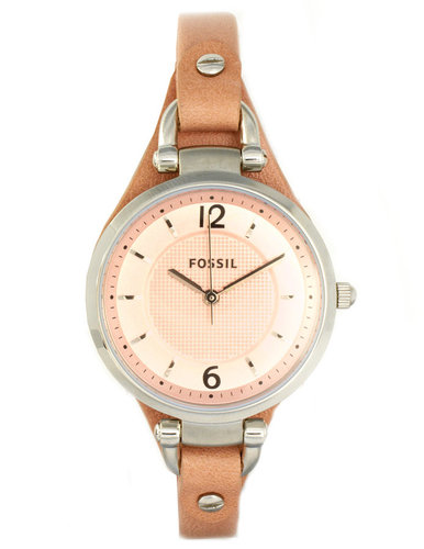 Fossil Dress Pink Leather Strap Watch