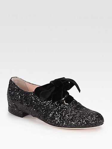 RED Valentino Glitter and Velvet Lace-Up Oxfords