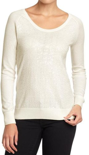 Women's Sequined Scoop-Neck Sweaters