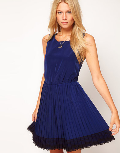 ASOS Skater Dress With Lace Trim and Pleated Skirt